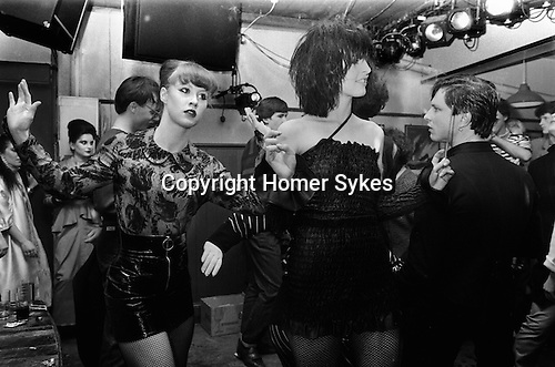 Blitz Club Covent Garden London 1980. <br /> <br /> Girl on left is Lorraine from the dance troupe Spoonoch. Girl with black bob hairstyle is Wendy May who was Billy Idol's girlfriend in the band Chelsea. <br /> <br /> My ref 10a/4004/1980