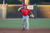 AZL Angels shortstop Jeremiah Jackson (8) warms up between innings of an Arizona League game against the AZL Giants Black at the San Francisco Giants Baseball Complex on July 1, 2018 in Scottsdale, Arizona. AZL Giants Black defeated the AZL Angels 4-2. (Zachary Lucy/Four Seam Images)