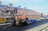 Jun. 29, 2012; Joliet, IL, USA: NHRA top fuel dragster driver Cory McClenathan during qualifying for the Route 66 Nationals at Route 66 Raceway. Mandatory Credit: Mark J. Rebilas-