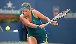 Victoria Azarenka (BLR) splits the first two sets against Angelique Kerber (GER) 7-5, 6-2 at the US Open in Flushing, NY on September 5, 2015.