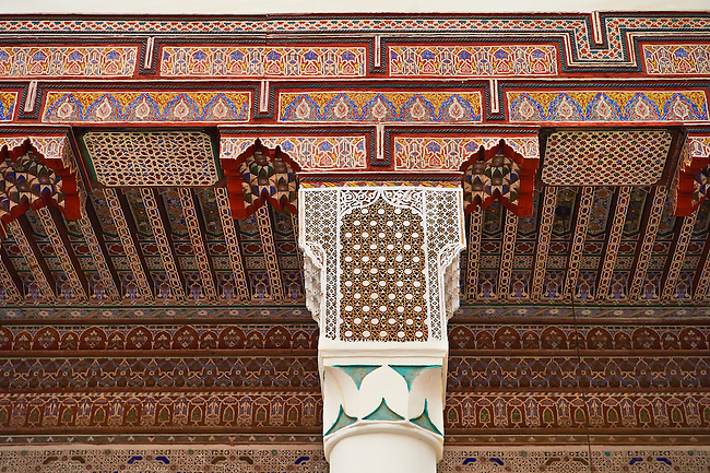 Berber Arabesque Morcabe plasterwok colums and capitals  of the Marrakesh museum in the Dar Menebhi Palace, Marrakesh, Morocco