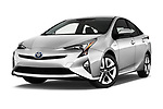 Stock pictures of low aggressive front three quarter view of 2016 Toyota Prius Three Touring 5 Door Hatchback