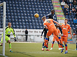 06.05.2019 Falkirk v Rangers reserves: Andy Dallas heads the ball for goal no 2 but the keeper claws the ball away from the line