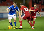 Aberdeen v St Johnstone…..05.02.20   Pittodrie   SPFL<br />Anthony Ralston is closed down by DylanMcGeouch and Matty Kennedy<br />Picture by Graeme Hart.<br />Copyright Perthshire Picture Agency<br />Tel: 01738 623350  Mobile: 07990 594431