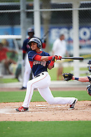 GCL Red Sox second baseman Santiago Espinal (43) at bat during the first game of a doubleheader against the GCL Rays on August 9, 2016 at JetBlue Park in Fort Myers, Florida.  GCL Rays defeated GCL Red Sox 5-4.  (Mike Janes/Four Seam Images)