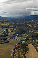 aerial photograph of the Silverado Trail from St. Helena toward Mount St. Helena, Napa County, California; the Conn Creek Winery in the center left