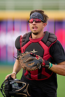 Lansing Lugnuts catcher Jared McDonald (25) during practice before a game against the West Michigan Whitecaps on August 24, 2021 at Jackson Field in Lansing, Michigan.  (Mike Janes/Four Seam Images)
