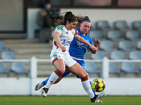 Luna Vanzeir (10) of OHL and Fleur Pauwels (66) of KRC Genk battle for the ball during a female soccer game between Oud Heverlee Leuven and Racing Genk on the 14 th matchday of the 2020 - 2021 season of Belgian Womens Super League , sunday 28 th of February 2021  in Heverlee , Belgium . PHOTO SPORTPIX.BE | SPP | SEVIL OKTEM