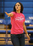 Marymount Assistant Coach Johannah Zabal works a college volleyball match against Shenandoah at Marymount University in Arlington, Vir., on Tuesday, Oct. 8, 2013.<br /> Photo by Cathleen Allison