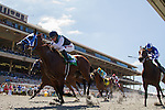 SEP 3,2014:Ankeny Hill,ridden by Tyler Baze,(saddle number 3)wins the Pirate's Bounty Stakes at Del Mar in Del Mar,CA. Kazushi Ishida/ESW/CSM