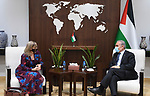 Palestinian Prime Minister Mohammed Ishtayeh meets with Canadian representative to the Palestine Robin Whitlover, at his office in the West Bank city of Ramallah on September 8, 2021. Photo by Prime Minister Office