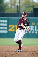 Hunter Stovall (2) of the Mississippi State Bulldogs throws during a game against the Southern California Trojans at Dedeaux Field on March 5, 2016 in Los Angeles, California. Mississippi State defeated Southern California , 8-7. (Larry Goren/Four Seam Images)