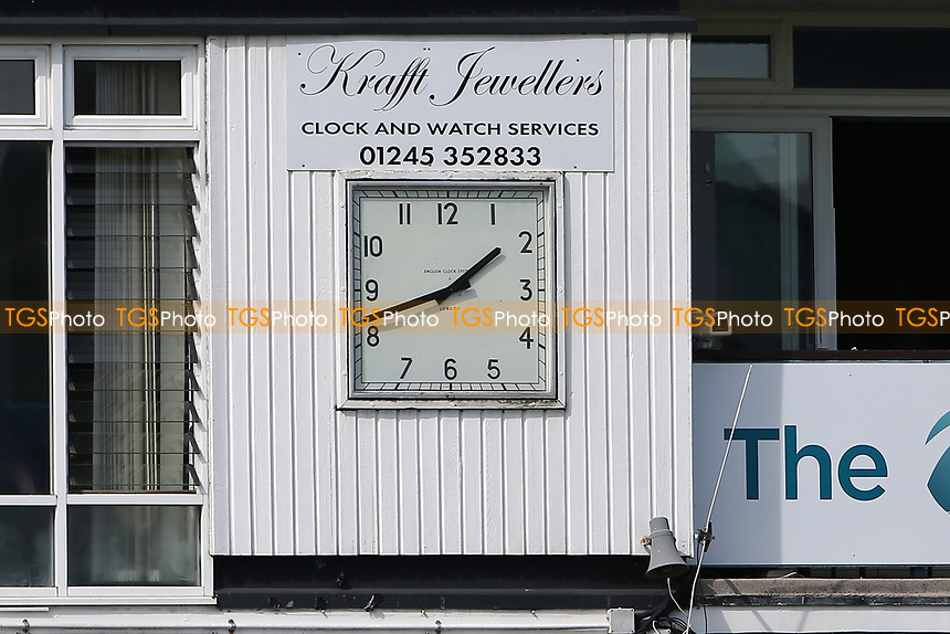 The clock indicates that the afternoon session is about to commence during Essex CCC vs Worcestershire CCC, LV Insurance County Championship Group 1 Cricket at The Cloudfm County Ground on 8th April 2021