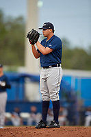 Lakeland Flying Tigers relief pitcher Eudis Idrogo (26) looks in for the sign during a game against the Dunedin Blue Jays on July 31, 2018 at Dunedin Stadium in Dunedin, Florida.  Dunedin defeated Lakeland 8-0.  (Mike Janes/Four Seam Images)