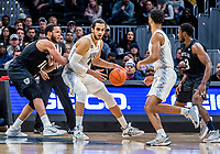 WASHINGTON, DC - JANUARY 28: Bryce Nze #10 of Butler defends against Omer Yurtseven #44 of Georgetown during a game between Butler and Georgetown at Capital One Arena on January 28, 2020 in Washington, DC.