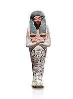 Ancient Egyptian shabtis doll of Nuneb , wood, New Kingdom, 18th Dynasty, (1538-1292 BC), Deir el Medina. Egyptian Museum, Turin. Cat 2676. Grey background. <br /> <br /> Mummiform holding agricultural implements (hoes); good modelling; polychrome <br /> decoration painted on white gesso: Wig painted black, face and hands dark red; hoes <br /> painted red; large usekh collar painted red and black. Hieroglyphs painted black. Text: Painted hieroglyphs, 7 rows around body. Chapter VI of the Book of the Dead. Tomb TT291