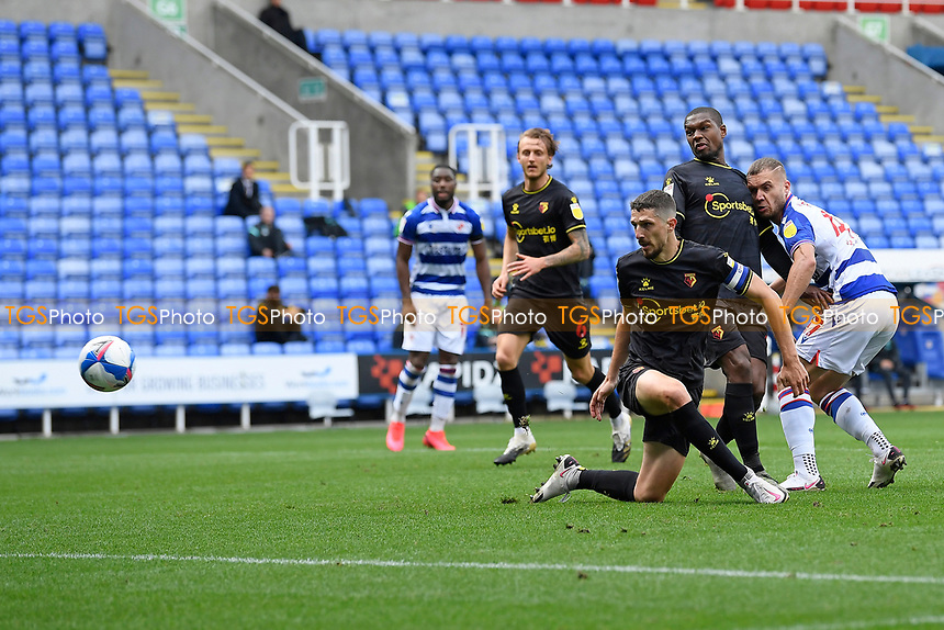 George Puscas of Reading right scores the first goal during Reading vs Watford, Sky Bet EFL Championship Football at the Madejski Stadium on 3rd October 2020