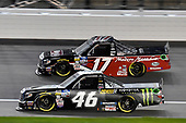 #46: Riley Herbst, Kyle Busch Motorsports, Toyota Tundra Monster Energy/Advance Auto Parts and #17: Tyler Ankrum, DGR-Crosley, Toyota Tundra May's Hawaii