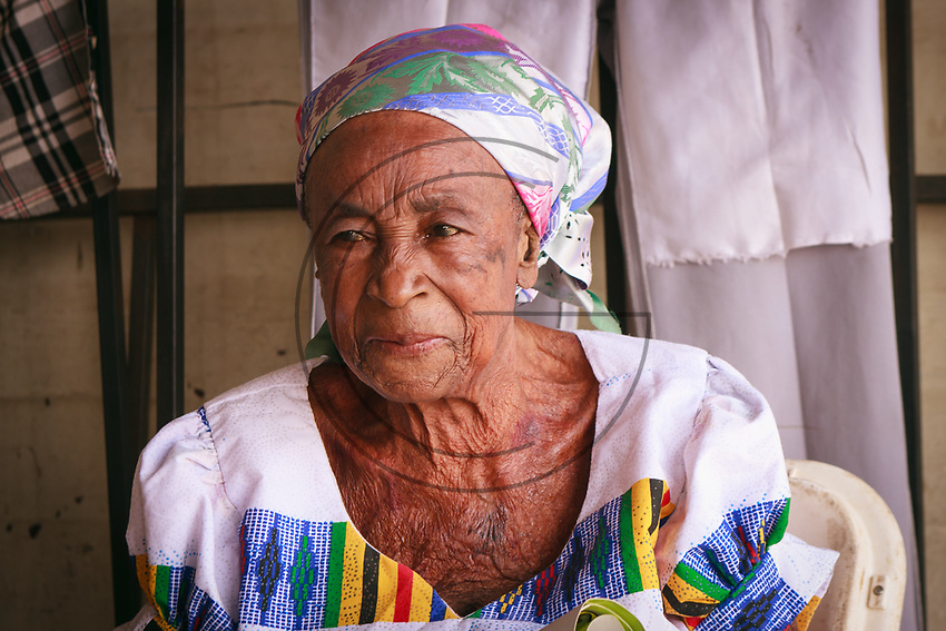 Africa, Ghana,Kumasi, Ashanti old woman portrait