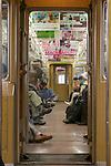 Train car interior, Tokyo, Honshu, Japan