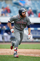 Lehigh Valley IronPigs left fielder Andrew Pullin (15) runs to first base during a game against the Syracuse Chiefs on May 20, 2018 at NBT Bank Stadium in Syracuse, New York.  Lehigh Valley defeated Syracuse 5-2.  (Mike Janes/Four Seam Images)