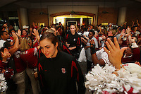 8 April 2008: Stanford Cardinal Morgan Clyburn and Kayla Pedersen during Stanford's send off party before their 64-48 loss against the Tennessee Lady Volunteers in the 2008 NCAA Division I Women's Basketball Final Four championship game at the St. Pete Times Forum Arena in Tampa Bay, FL.