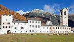 Schweiz, Graubuenden, Muenstertal, Muenster: Benediktinerkloster St. Johann (UNESCO Weltkulturerbe)   Switzerland, Graubuenden, Muenster Valley, Muestair: monastery St. Johann (UNESCO world heritage)