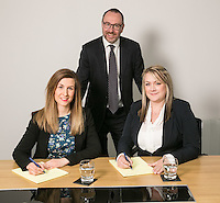Pictured at Gateley Leicester are newlly-promoted solicitors Natalie Howes (left) and Claire Herbert with Senior Partner Gareth John