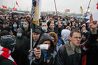 Moscow, Russia, 04/11/2010..Some 7,000 demonstrators from the Movement Against Illegal Immigration and other ultra-nationalist groups march in Moscow. The demonstration, called the Russian March, was organised to mark the National Unity Day holiday, which has replaced the old holiday celebrating the Bolshevik Revolution, and which extremist nationalist groups have tried to make their own.