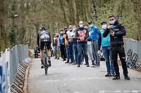 Nils Eekhoff (NED/DSM) having a hard time up the infamous Kemmelberg<br /> <br /> 83rd Gent-Wevelgem - in Flanders Fields (ME - 1.UWT)<br /> 1 day race from Ieper to Wevelgem (BEL): 254km<br /> <br /> ©kramon