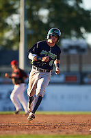 Vermont Lake Monsters second baseman Trace Loehr (6) running the bases during a game against the Batavia Muckdogs August 9, 2015 at Dwyer Stadium in Batavia, New York.  Vermont defeated Batavia 11-5.  (Mike Janes/Four Seam Images)