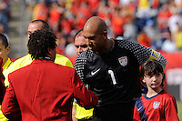 United States goalkeeper Tim Howard (1) shakes hands with Hall of Fame inductee Cobi Jones before the game. The men's national team of Spain (ESP) defeated the United States (USA) 4-0 during a International friendly at Gillette Stadium in Foxborough, MA, on June 04, 2011.