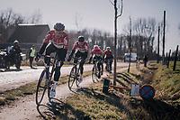 Nikolas Maes (BEL/Lotto-Soudal) avoiding the Varent cobbles<br /> <br /> 70th Kuurne-Brussel-Kuurne 2018<br /> Kuurne › Kuurne: 200km (BELGIUM)