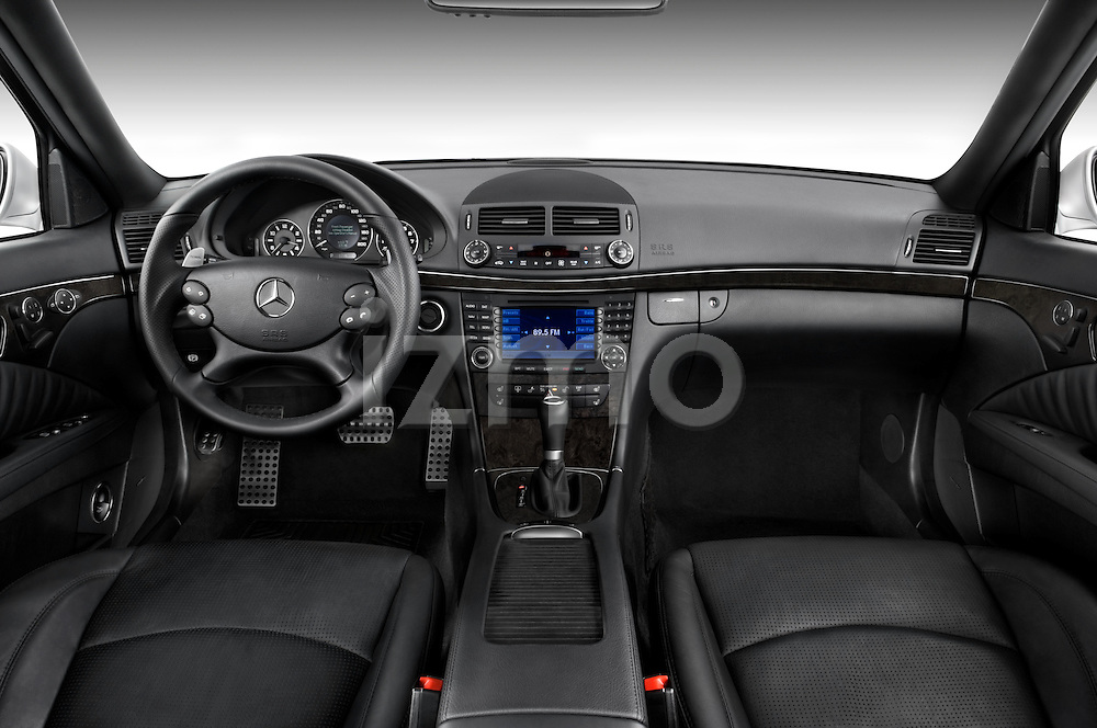 Straight dashboard view of a 2008 Mercedes E63 Sedan.