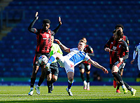 5th April 2021; Ewood Park, Blackburn, Lancashire, England; English Football League Championship Football, Blackburn Rovers versus Bournemouth; Lewis Holtby of Blackburn Rovers gets past Jefferson Lerma and Ben Pearson of Bournemouth