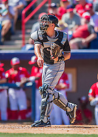 7 March 2016: Miami Marlins catcher J.T. Realmuto in action during a Spring Training pre-season game against the Washington Nationals at Space Coast Stadium in Viera, Florida. The Nationals defeated the Marlins 7-4 in Grapefruit League play. Mandatory Credit: Ed Wolfstein Photo *** RAW (NEF) Image File Available ***