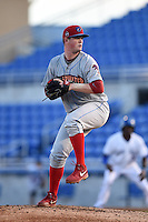 Clearwater Threshers pitcher David Whitehead (47) delivers a pitch at bat during a game against the Dunedin Blue Jays on April 10, 2015 at Florida Auto Exchange Stadium in Dunedin, Florida.  Clearwater defeated Dunedin 2-0.  (Mike Janes/Four Seam Images)