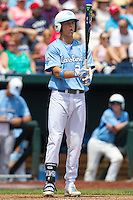 North Carolina Tar Heels outfielder Skye Bolt #20 bats during Game 3 of the 2013 Men's College World Series between the North Carolina State Wolfpack and North Carolina Tar Heels at TD Ameritrade Park on June 16, 2013 in Omaha, Nebraska. The Wolfpack defeated the Tar Heels 8-1. (Brace Hemmelgarn/Four Seam Images)