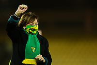 9th December 2020; Carrow Road, Norwich, Norfolk, England, English Football League Championship Football, Norwich versus Nottingham Forest; Norwich City Chairwoman Delia Smith salutes the fans