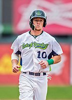 25 July 2017: Vermont Lake Monsters outfielder Greg Deichmann, a 2nd round draft pick for the Oakland Athletics, trots home to score Vermont's 8th run of the game in the 7th inning against the Tri-City ValleyCats at Centennial Field in Burlington, Vermont. The Lake Monsters defeated the ValleyCats 11-3 in NY Penn League action. Mandatory Credit: Ed Wolfstein Photo *** RAW (NEF) Image File Available ***