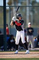 James Nunez during the Under Armour All-America Pre-Season Tournament, powered by Baseball Factory, on January 19, 2019 at Fitch Park in Mesa, Arizona.  James Nunez is an outfielder from East Elmhurst, New York who attends Benjamin Cardozo High School.  (Mike Janes/Four Seam Images)