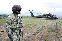 Ride-along flight with the US Army, Charlie company 3, 227th Assault Helicopter Battalion, 1st Air Calvary Division, Ft. Hood, Texas. Views of downtown Jackson, and along the South Fork of the Snake River in advance of the VP's fishing trip.