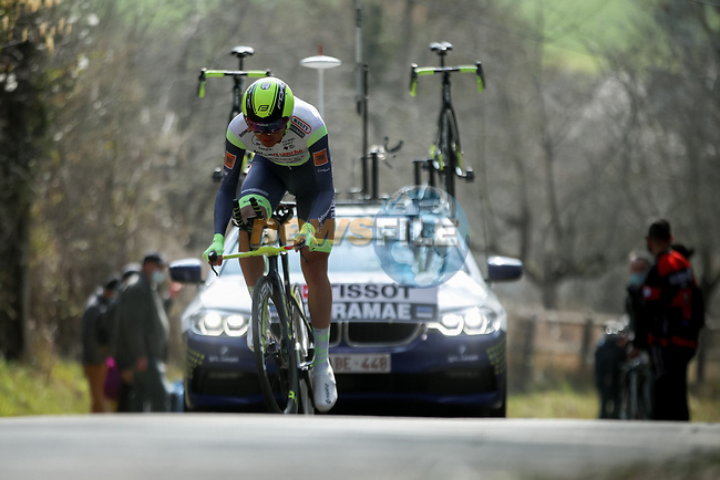 Rein Taaramäe (EST) Intermarché-Wanty-Gobert Matériaux during Stage 3 of Paris-Nice 2021, an individual time trial running 14.4km around Gien, France. 9th March 2021.<br /> Picture: ASO/Fabien Boukla | Cyclefile<br /> <br /> All photos usage must carry mandatory copyright credit (© Cyclefile | ASO/Fabien Boukla)