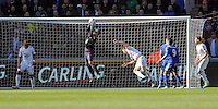 Lukasz Fabianski of Swansea saves the ball from a Chelsea shot during the Barclays Premier League match between Swansea City and Chelsea at the Liberty Stadium, Swansea on April 9th 2016