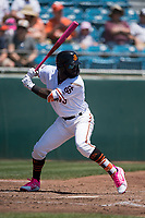San Jose Giants left fielder Jacob Heyward (33) at bat during a California League game against the Lancaster JetHawks at San Jose Municipal Stadium on May 13, 2018 in San Jose, California. San Jose defeated Lancaster 3-0. (Zachary Lucy/Four Seam Images)