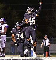 Keegan Stinespring (45) of  Bentonville scores touchdwon in first quarter against Fayetteville at Tigers Stadium, Bentonville, Arkansas on Friday, October 16, 2020 / Special to NWA Democrat-Gazette/ David Beach