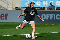 BRIDGEVIEW, IL - JULY 18: Bethany Balcer #24 of the OL Reign warms up before a game between OL Reign and Chicago Red Stars at SeatGeek Stadium on July 18, 2021 in Bridgeview, Illinois.