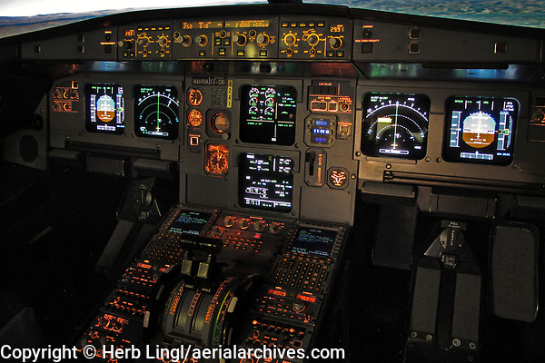 instrument panel of United Airlines Airbus A320-232, N469U, in a Thule simulator at the United Airlines Training Center in Denver, CO