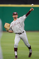 Texas A&M Aggies outfielder Blake Kopetsky (13) warms up before the Southeastern Conference baseball game against the LSU Tigers on April 24, 2015 at Alex Box Stadium in Baton Rouge, Louisiana. LSU defeated Texas A&M 9-6. (Andrew Woolley/Four Seam Images)