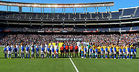 San Diego, CA - Sunday July 30, 2017: USWNT and Brazil starting eleven's during a 2017 Tournament of Nations match between the women's national teams of the United States (USA) and Brazil (BRA) at Qualcomm Stadium.